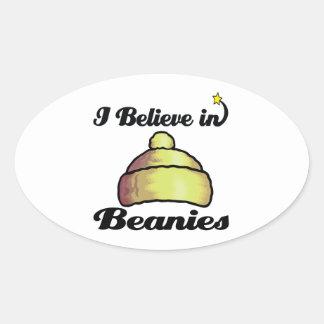 i believe in beanies oval sticker