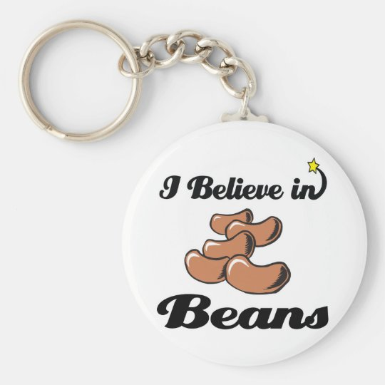 i believe in beans basic round button key ring