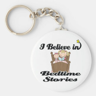 i believe in bedtime stories girl basic round button key ring
