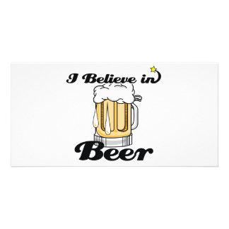 i believe in beer personalised photo card