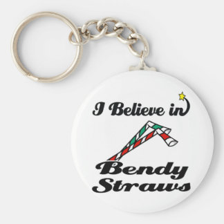 i believe in bendy straws basic round button key ring