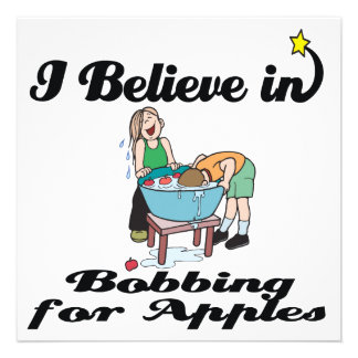 i believe in bobbing for apples personalized announcement