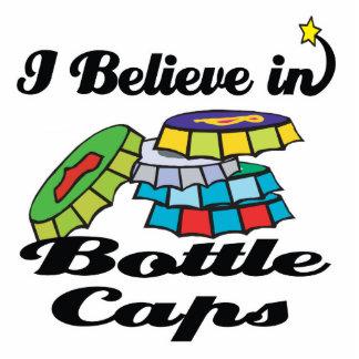 i believe in bottle caps standing photo sculpture