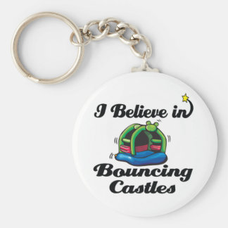 i believe in bouncing castles basic round button key ring
