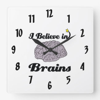 i believe in brains square wall clock