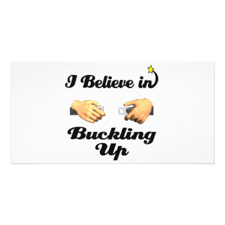 i believe in buckling up customized photo card