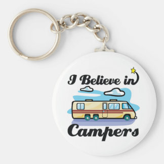 i believe in campers basic round button key ring