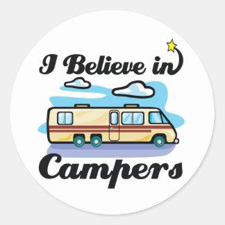 i believe in campers round sticker