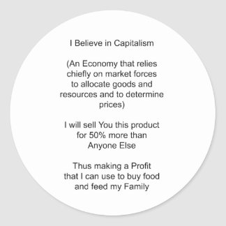 I Believe in Capitalism The MUSEUM Zazzle Gifts Stickers
