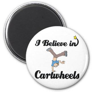 i believe in cartwheels 6 cm round magnet