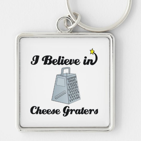 i believe in cheese graters Silver-Colored square key ring