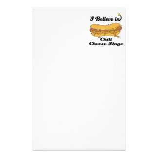 i believe in chili cheese dogs stationery paper