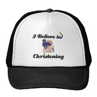 i believe in Christening Cap