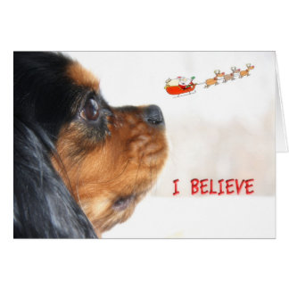 I Believe In Christmas With Cavalier King Charles Greeting Card