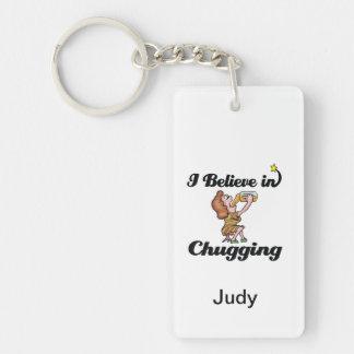 i believe in chugging Double-Sided rectangular acrylic key ring