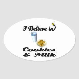 i believe in cookies and milk oval stickers