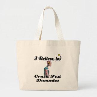 i believe in crash test dummies canvas bags