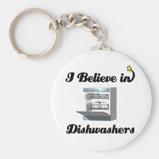 i believe in dishwashers basic round button key ring