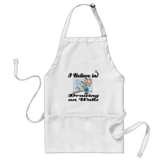 i believe in drawing on walls aprons