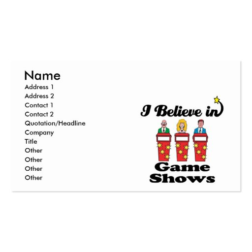 i believe in game shows business card template