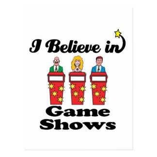 i believe in game shows postcard