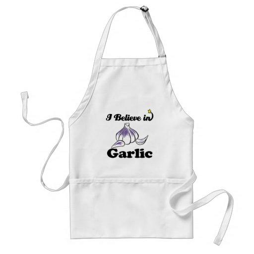 i believe in garlic aprons