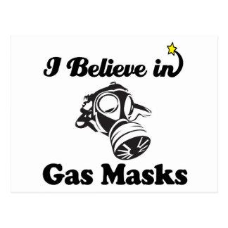 i believe in gas masks postcard