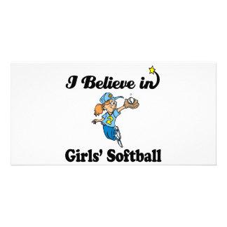 i believe in girls softball custom photo card