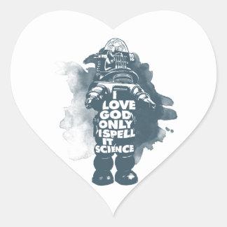 I Believe in God; Only I Spell It Science. Heart Sticker