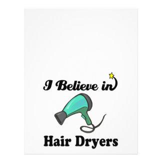 i believe in hair dryers 21.5 cm x 28 cm flyer