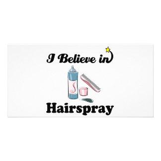 i believe in hairspray personalised photo card