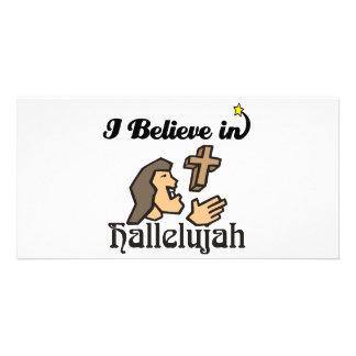 i believe in hallelujah custom photo card