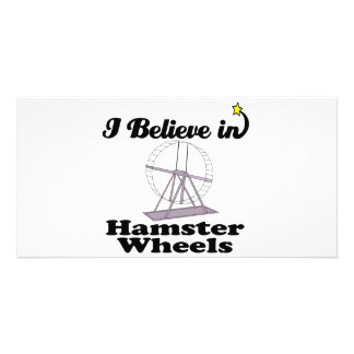 i believe in hamster wheels personalized photo card