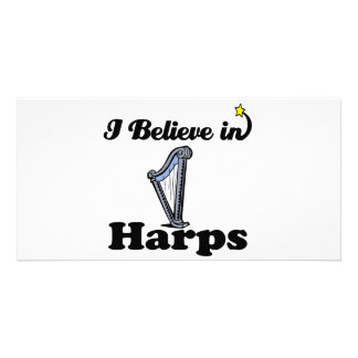 i believe in harps personalized photo card