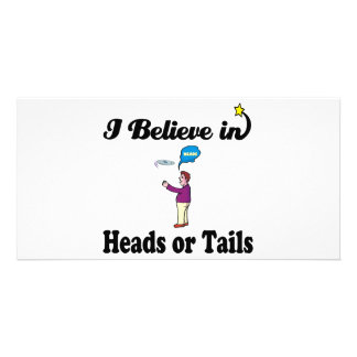 i believe in heads or tails personalized photo card