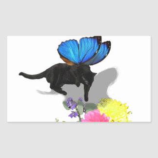 I believe in kitty fairies insect animals rectangular sticker