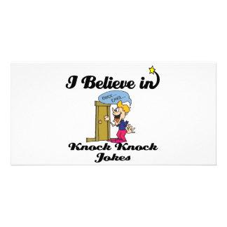 i believe in knock knock jokes photo card
