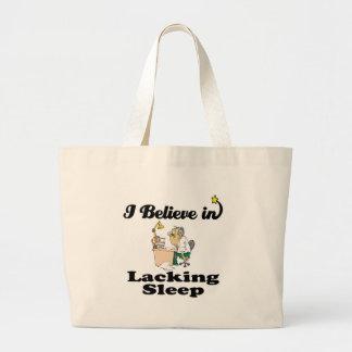i believe in lacking sleep jumbo tote bag
