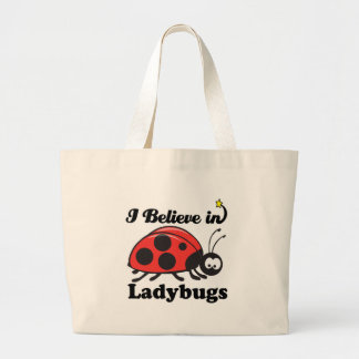 i believe in ladybugs large tote bag