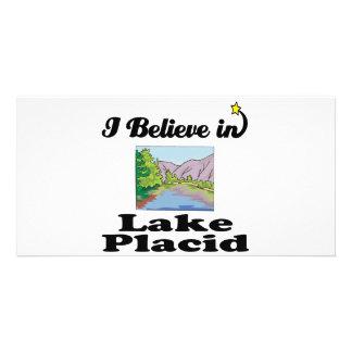 i believe in lake placid customized photo card