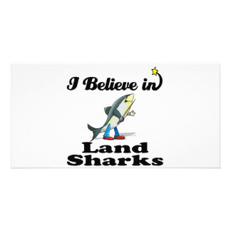 i believe in land sharks personalised photo card
