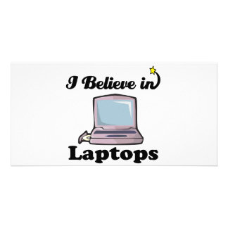 i believe in laptops photo greeting card