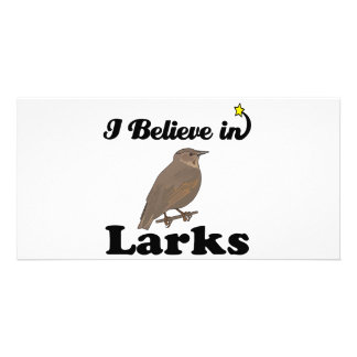 i believe in larks personalized photo card