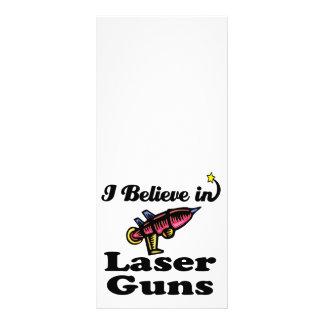 i believe in laser guns full colour rack card