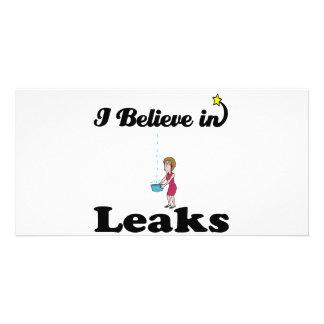 i believe in leaks personalised photo card