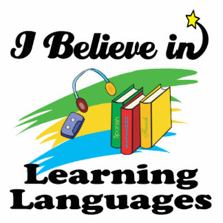 i believe in learning languages standing photo sculpture