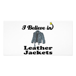 i believe in leather jackets personalized photo card