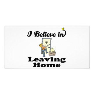 i believe in leaving home personalised photo card