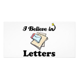 i believe in letters customized photo card