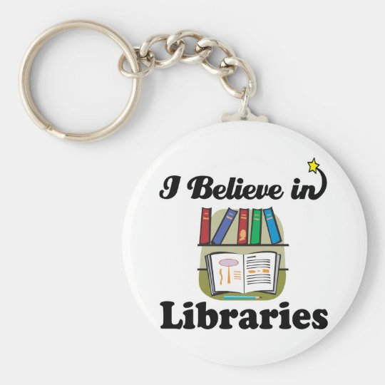 i believe in libraries basic round button key ring